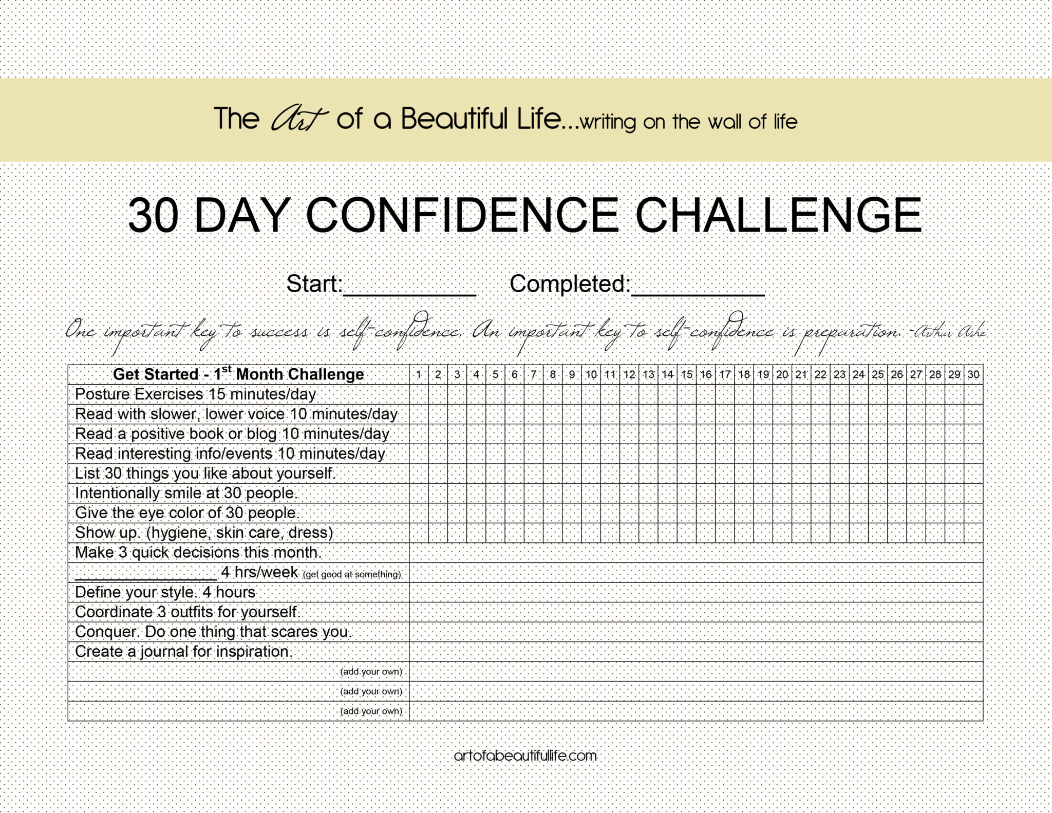 30 Day Challenge - Be Confident - The Art of a Beautiful Life