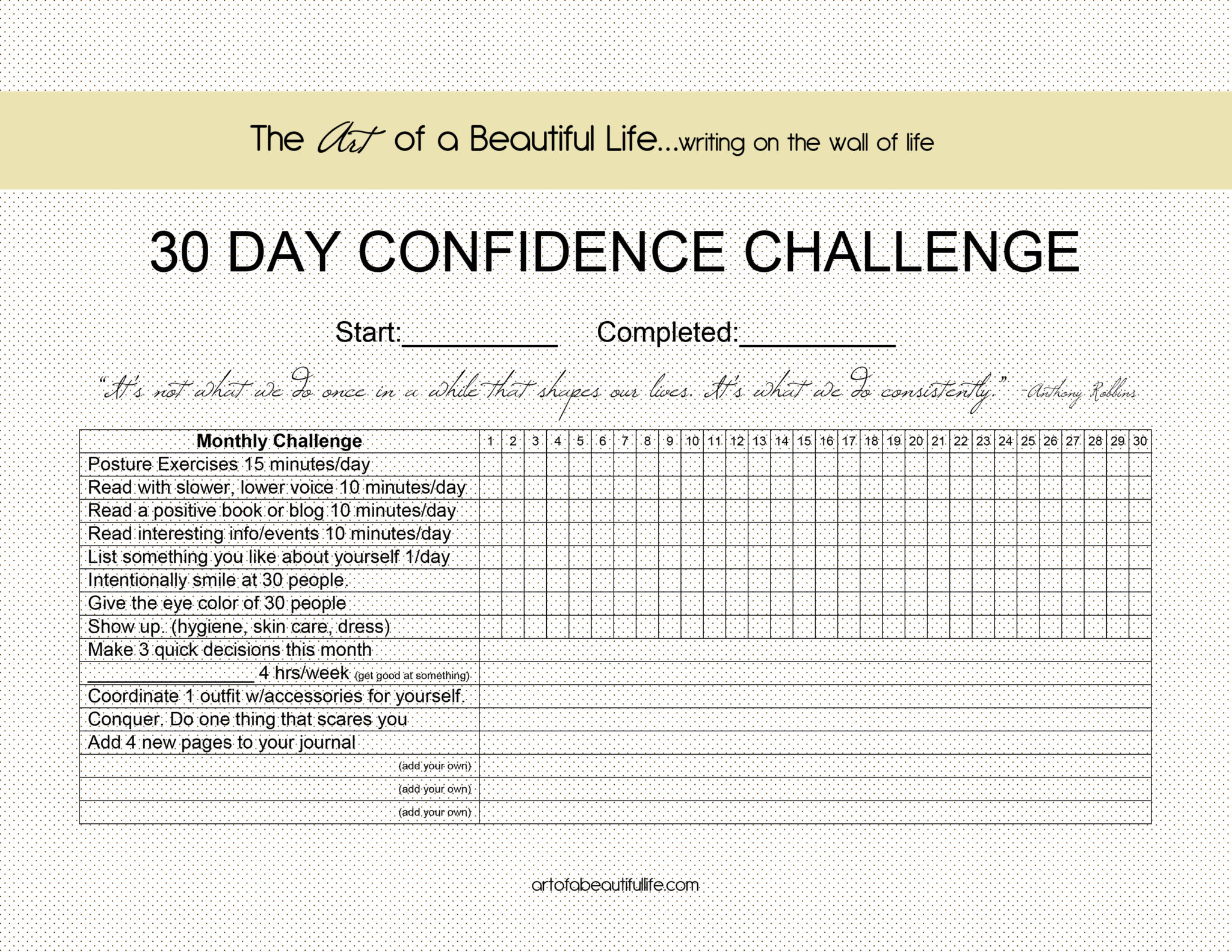 30 Day Challenge - Daily Confidence Challenge - The Art of a Beautiful ...