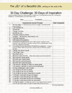 30 Day Challenge - Inspirational Journal - 30 Days of Inspiration | artofabeautifullife.com