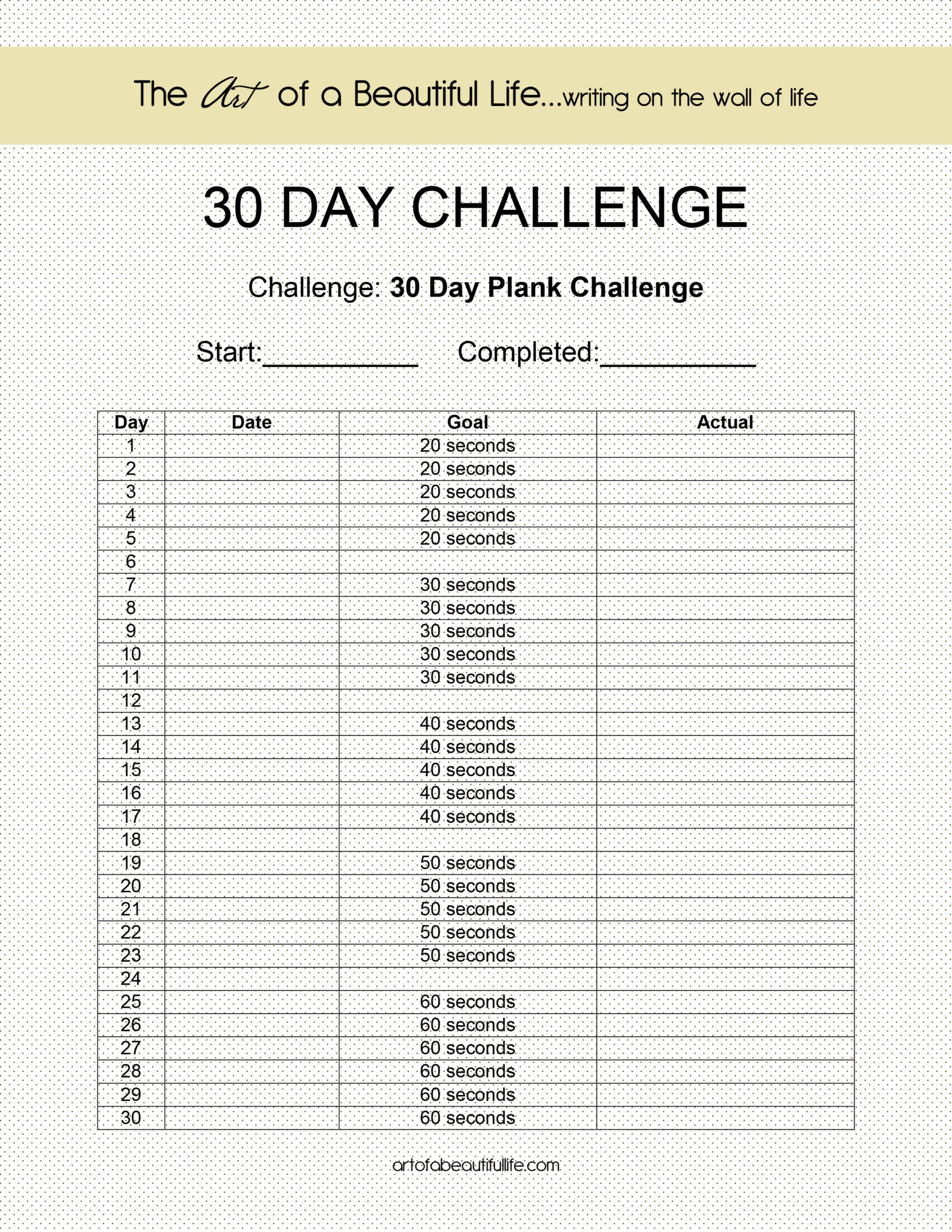 30 DAY CHALLENGE - EASY PLANK - The Art of a Beautiful Life