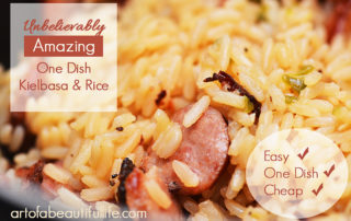 Unbelievably AMAZING! Easy, One Dish Kielbasa Sausage and Rice - | artofabeautifullife.com