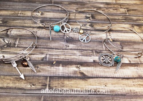 Boho Charm Bracelet Bangle Expandable Bracelet - Arrow, Pearl, Feather