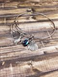 Beach Bangle Expandable Bracelet - Sea Turtle, Abalone, Shell