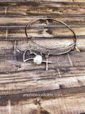 Christian Charm Bracelet - Expandable Bangle with Heart, Cross, Pearl