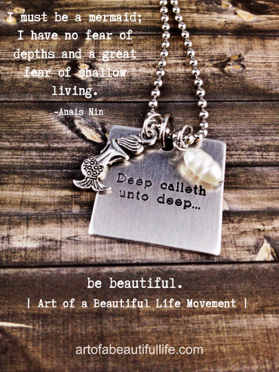 Deep Calleth Unto Deep Engraved Mermaid Necklace Mermaid Charm