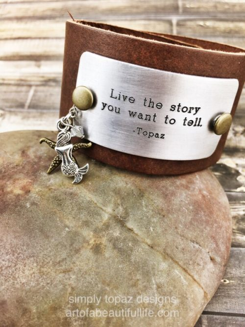 boho-leather-cuff-bracelet-mermaid-quote