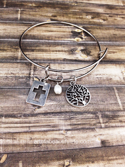 christian bangle bracelet tree and cross
