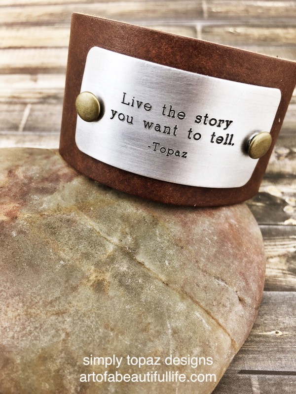inspirational leather cuff bracelet live the story you