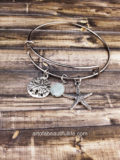 Starfish Bracelet with Sand Dollar and Adventurine, Expandable Bangle Bracelet