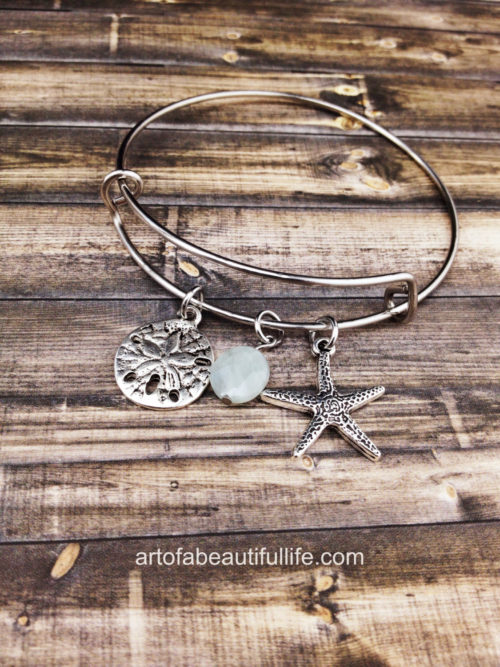 Starfish Bracelet with Sand Dollar and Adventurine, Expandable Bangle Bracelet