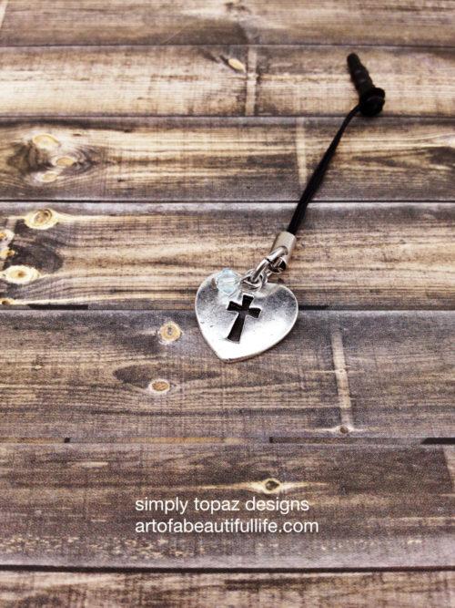 Christian Cell Phone Plug with Heart, Cross, Light Azore