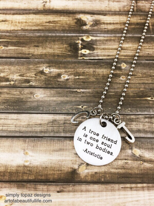 True Friend Quote Necklace with Initials