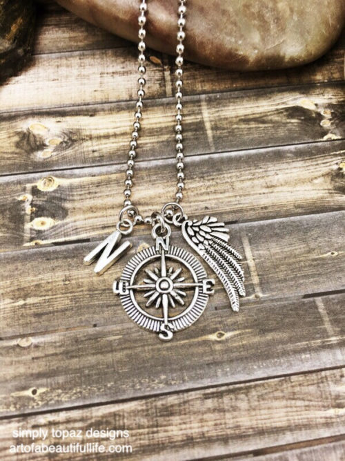 Compass Necklace with Wing and Personalized Initial