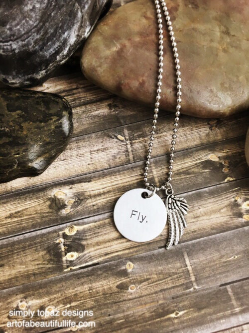 Fly Necklace with Wing, Inspirational Jewelry
