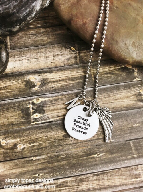 Crazy, Beautiful Friends Forever Necklace with Wing and Initial