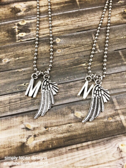 Wing Necklace Set of 2 with Initial - Silver Color