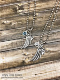 Wing Necklace Set of 2 Personalized with Birthstone
