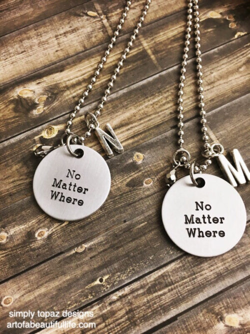 Long Distance Jewelry Set, No Matter Where with Initial and Metallic Stone