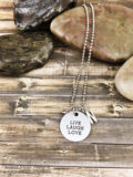 Live Laugh Love Necklace with Initial and Metallic Gem Inspirational Quote Necklace