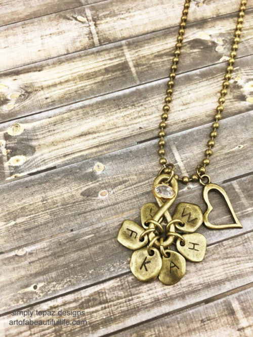 Infinity Necklace with Initials, Heart, and Crystal Set of 2-6