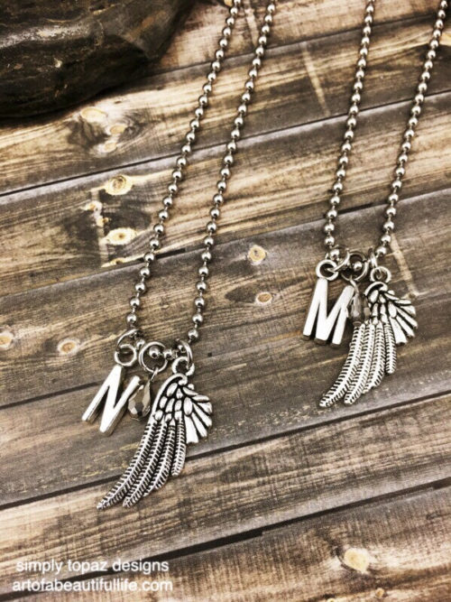 Friend Necklace, Sister Necklace with Wing and Metallic Stone