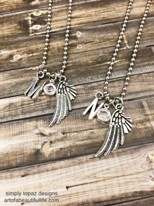 Best Friend Necklace Set Wings, Crystal