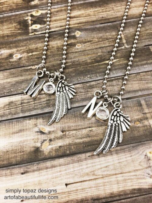 Best Friend Necklace Set Wings, Crystal