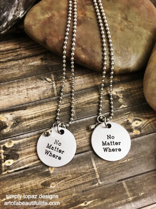 No Matter Where Necklace Set of 2 with Metallic Gem