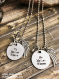 No Matter Where Necklace Set of 2 with Wing and Metallic Gem