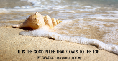 It is the good in life that floats to the top. -Topaz