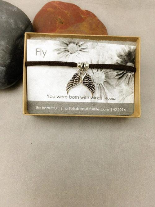 Fly Quote Jewelry| Born to Fly Bracelet | Inspirational Jewelry | Suede Bracelet