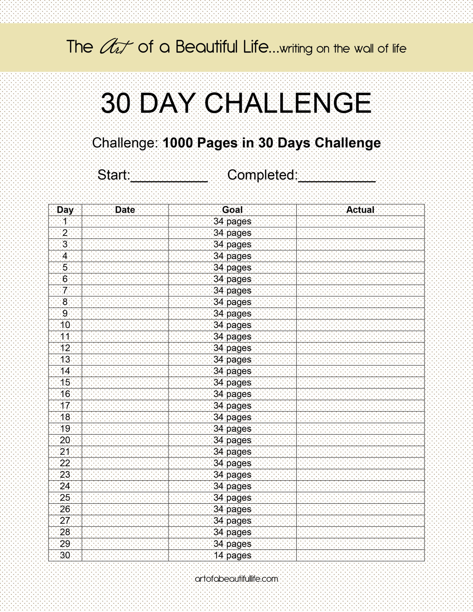 30 day challenge 1 000 pages the art of a beautiful life. Black Bedroom Furniture Sets. Home Design Ideas