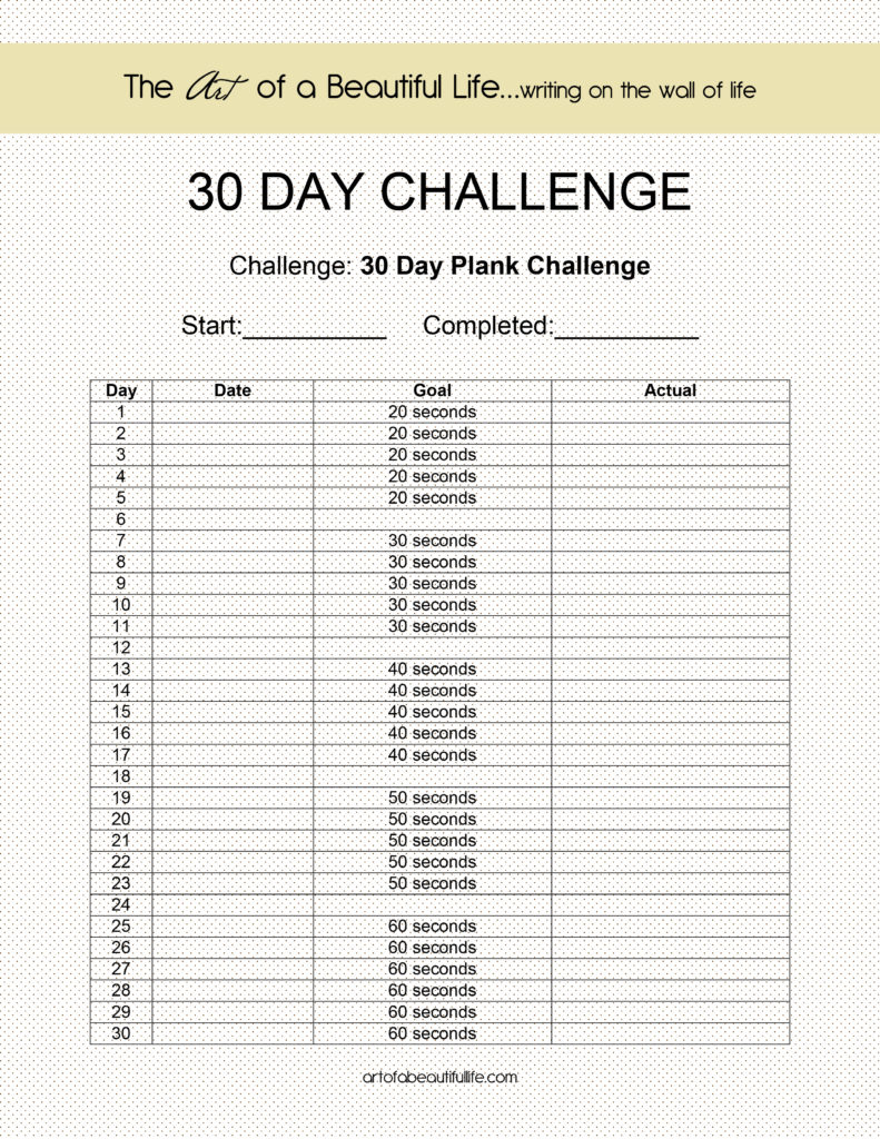 This is a graphic of Adaptable 30 Day Challenge Printable