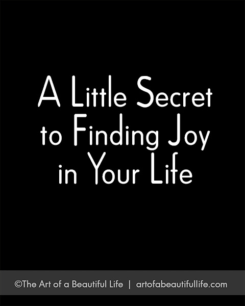 A Little Secret to Finding Joy in Your Life | Read more... https://artofabeautifullife.com